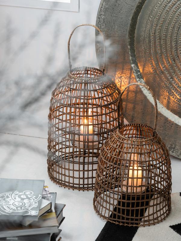 Windlicht Met Handvat Bamboe Naturel