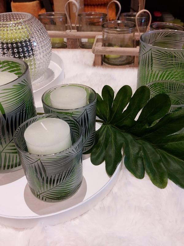 theelichthouder tropical glas groen