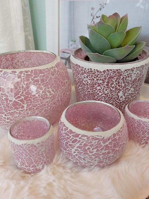 kaarshouders in roze mozaïek