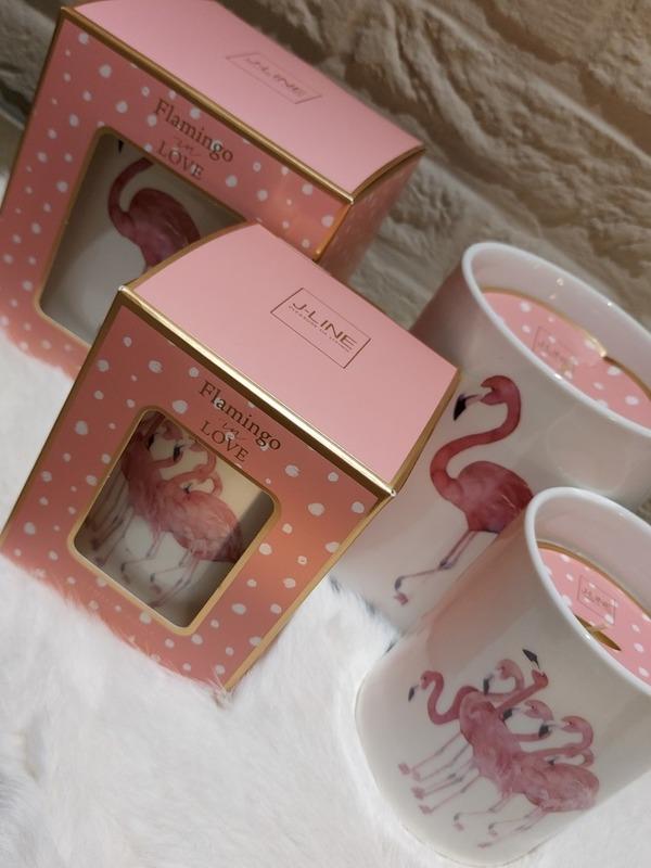 Flamingo in love - geurkaars small