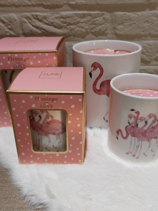 Flamingo in love - geurkaars large