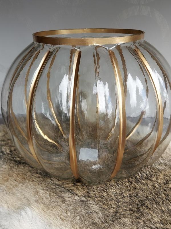 windlicht bol/streep/goud medium
