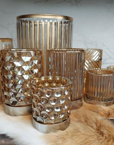 windlicht glas recht streep goud small