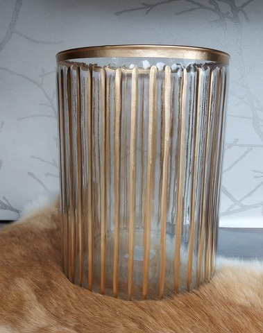 windlicht glas streep goud large