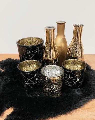 set 3 tl-houders hexa zwart/goud