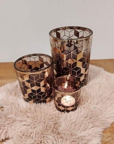 set 3 tl-houders hexa grey/pink